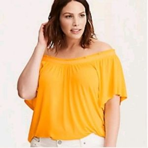 Torrid Off Shoulder Embroidered Yellow Top